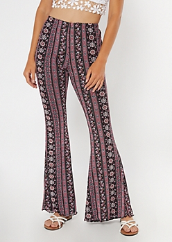 Purple Border Print Mesh Flare Pants