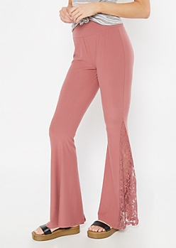 Dusty Pink Super Soft Lace Flare Pants