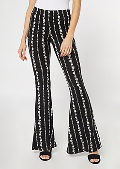 Black Daisy Striped Super Soft Flare Pants