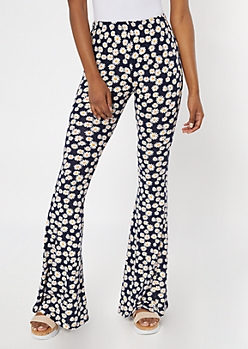Black Daisy Super Soft Flare Pants
