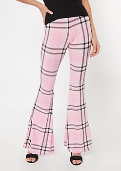 Pink Plaid Print Super Soft Flare Pants
