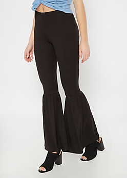 Black Super Soft Ruffle Flare Pants