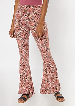 Burgundy Border Print Button Down Super Soft Flare Pants