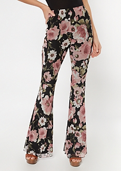 Pink Floral Print Mesh Flare Pants