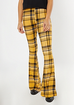 Yellow Plaid Super Soft Flare Pants
