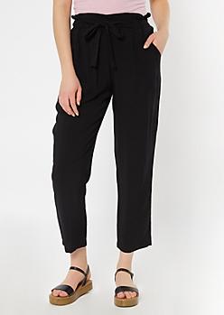 Black Sash Tie Paperbag Waist Pants