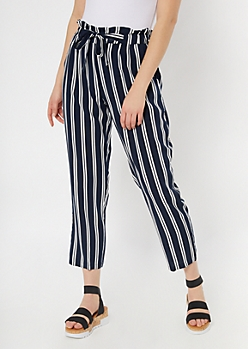 Navy Striped Sash Tie Paperbag Waist Pants