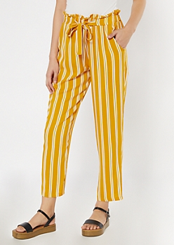 Mustard Striped Paperbag Waist Pants