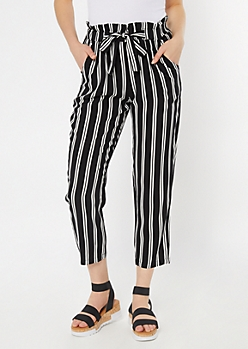 Black Striped Sash Tie Paperbag Waist Pants