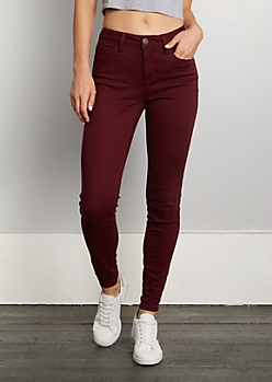 Burgundy High Waisted Jeggings