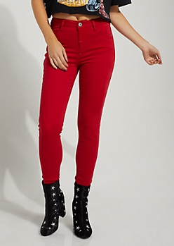 Red High Rise Sateen Jeggings