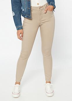 Khaki High Waisted Skinny Booty Jeans
