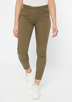 Olive High Waisted Skinny Booty Jeans