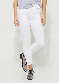 White High Waisted Sateen Jeggings