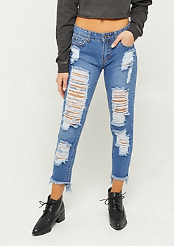 Dark Mid Rise Destroyed Fraying Hem Skinny Jeans in Regular