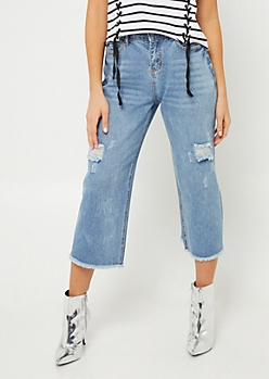 Medium Wash Wide Leg Cropped Jeans