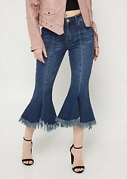 Medium Wash Fraying Hem Kick Flare Jeans