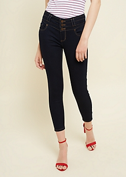 Dark Rinse Extra High Waisted Cropped Jeans