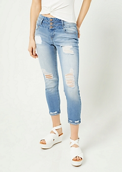 Medium Wash Ripped Slim Cropped Jeans