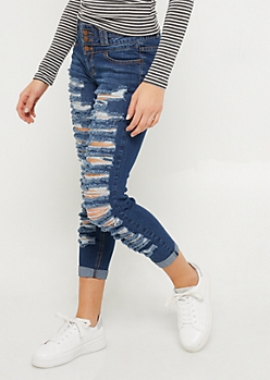 Dark Wash Destroyed Triple Button Skinny Jeans in Regular