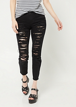 Black Mid Rise Destructed Cropped Skinny Jeans in Regular