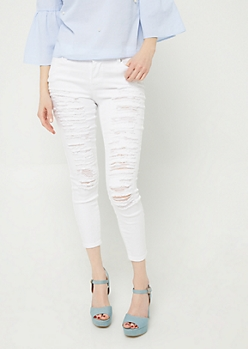 White Mid Rise Destroyed Cropped Jeggings