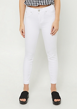 YMI Wanna Betta Butt White High Waisted Cropped Skinny Jeans