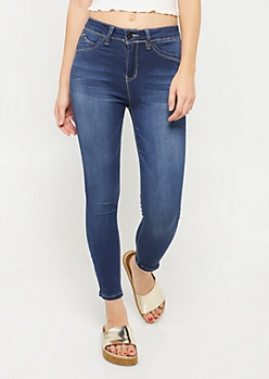 YMI Wanna Betta Butt Dark Wash High Waisted Cropped Skinny Jeans