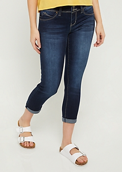 YMI Wanna Betta Butt Dark Wash Cuffed Ankle Cropped Jeggings