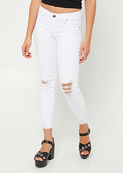 YMI Wanna Betta Butt White Raw Hem Ankle Jeggings