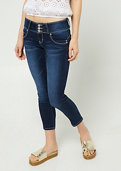YMI Wanna Betta Butt Dark Wash Button Front Cropped Jeans