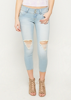 YMI Wanna Betta Butt Light Wash Button Front Cropped Jeans