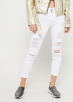White High Waisted Button Front Skinny Jeans
