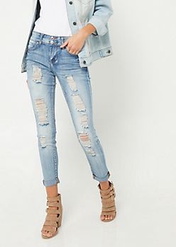 Vintage High Rise Destroyed Double Button Skinny Jeans