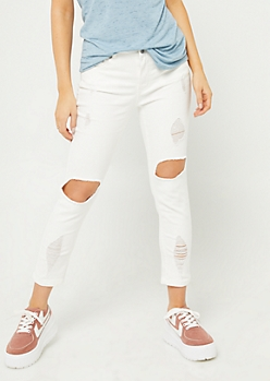 White Mid Rise Cropped Jeggings in Regular