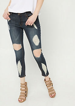 Dark Wash Destroyed Cropped Jeans