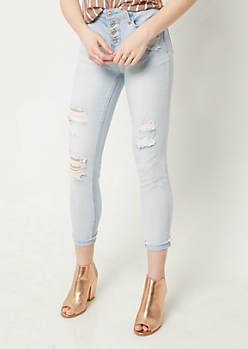 Light Wash Distressed Frayed Ankle Jeans