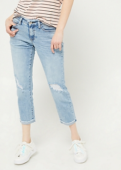 Light Wash Fraying Waist Ankle Jeans