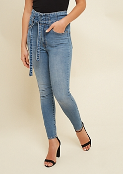 Ultra High Waisted Skinny Paperbag Ankle Jeans