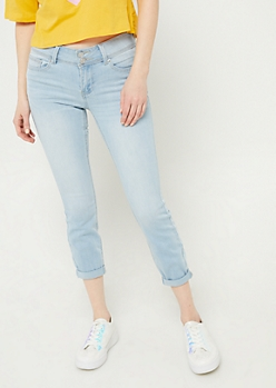 Light Wash Mid Rise Double Button Cuffed Jeggings