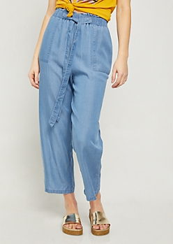 Chambray Wide Leg Cropped Pants