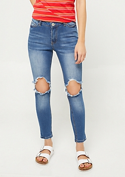 Medium Wash High Waisted Destroyed Cropped Jeans