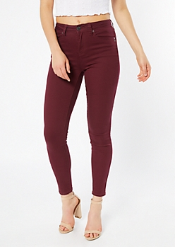 YMI Wanna Betta Butt Burgundy Skinny Jeans