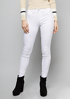 YMI Wanna Betta Butt White Mid Rise Skinny Jeans