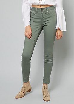 YMI Wanna Betta Butt Olive Mid Rise Skinny Jeans