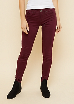 YMI Wanna Betta Butt Burgundy Mid Rise Skinny Jeans