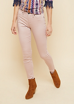 YMI Wanna Betta Butt Pink Mid Rise Skinny Jeans