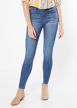 Ultra Stretch Medium Wash High Waisted Jeggings in Short