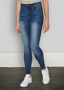 Washed Medium Blue High Rise Jegging in Shorts