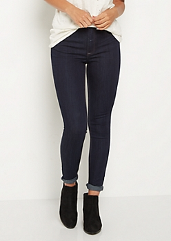 Dark Wash High Waisted Jeggings in Long